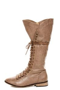 Yoki Deci 2 Beige Lace-Up Riding Boots