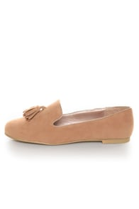 Yoki Frida Camel Tassel Smoking Slipper Flats