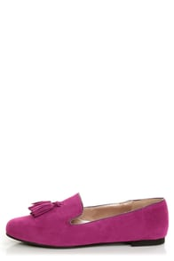 Yoki Frida Raspberry Fuchsia Tassel Smoking Slipper Flats at Lulus.com!