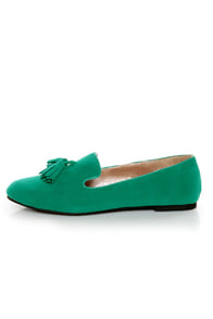 Yoki Frida Teal Tassel Smoking Slipper Flats