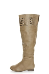 Yoki Giada Beige Studded Over-the-Knee Boots