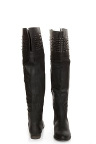 Yoki Giada Black Studded Over-the-Knee Boots at Lulus.com!