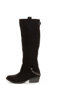Yoki Kelsey Black Chain Gang Knee High Boots