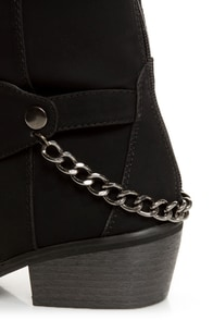 Yoki Kelsey Black Chain Gang Knee High Boots at Lulus.com!
