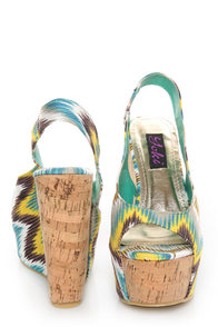 Yoki Larly 12 Blue Ikat Print Slingback Platform Wedges at Lulus.com!