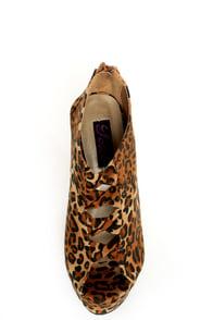 Yoki Miriam Leopard Cutout Peep Toe Shootie Wedges at Lulus.com!