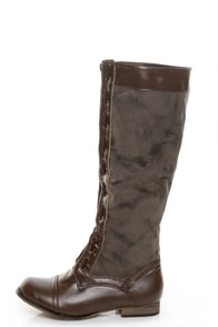 Yoki Raffone 37 Brown Two-Tone Zip Front Flat Boots