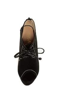 Yoki Stellar Black Top-Stitched Lace-Up Peep Toe Wedges at Lulus.com!