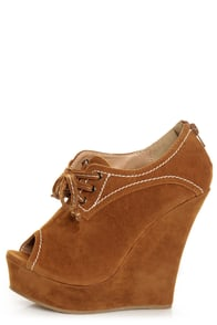 Yoki Stellar Rust Tan Top-Stitched Lace-Up Peep Toe Wedges
