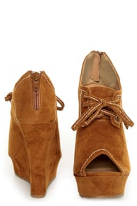 Yoki Stellar Rust Tan Top-Stitched Lace-Up Peep Toe Wedges at Lulus.com!