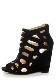 Yoki Donya Black Cutout Cage Wedge Booties