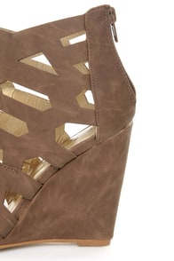 Yoki Donya Brown Cutout Cage Wedge Booties at Lulus.com!