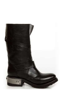 Zigi Girl Tangle Black Leather Heavy Metal Motorcycle Boots at Lulus.com!
