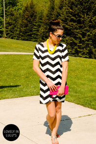 Top Chev Black Chevron Print Dress at Lulus.com!