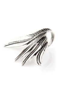 Wingtip Silver Feather Ring