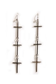 Vampire-Proof Silver Cross Earrings at Lulus.com!