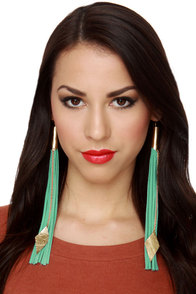 Claire Fong Under My Spell Mint Fringe Earrings