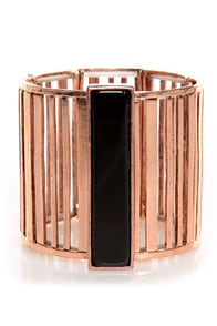 Barred for Life Copper Stretch Bracelet at Lulus.com!