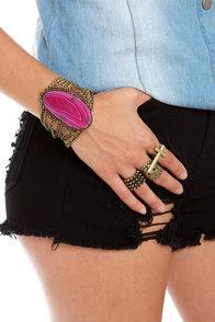 Esmeralda Brass Agate Bracelet at Lulus.com!