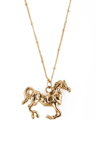 Hello, Neigh-bor Gold Horse Necklace