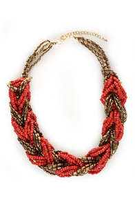 Marrakesh Gold and Red Necklace at Lulus.com!