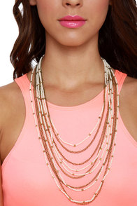 Siren Song Beaded White and Gold Layer Necklace