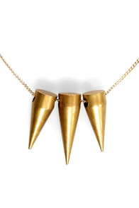 Speeding Bullet Gold Spike Necklace