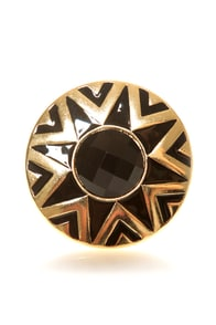 Black Hole Sun Black and Gold Ring at Lulus.com!
