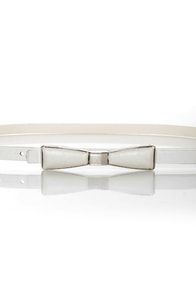 Decoration of Independence Skinny White Bow Belt at Lulus.com!