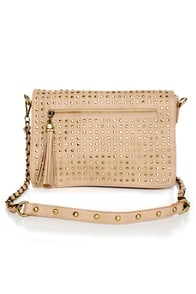 Believe It or Dot Studded Beige Handbag