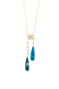 Subtle Indulgence Blue Teardrop Necklace