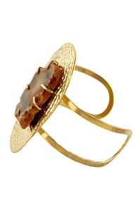 Obey Geode Gold Cuff at Lulus.com!