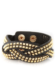 Tour Date Studded Black Leather Cuff