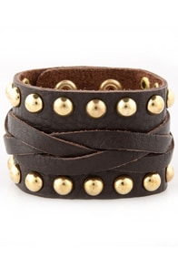 Fight for It Dark Brown Studded Leather Cuff at Lulus.com!