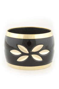 In a Flash Black and Gold Cuff at Lulus.com!
