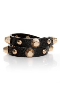 Cool Studded Cuff Wrap Bracelet Vegan Leather Bracelet