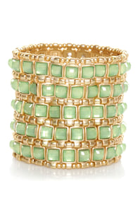 Ooh La Luxe Mint Green Stretch Bracelet at Lulus.com!