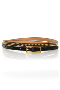 Covenants Studded Black Skinny Belt