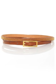 Covenants Studded Tan Skinny Belt