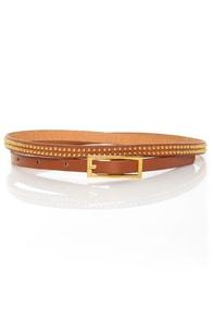 Covenants Studded Tan Skinny Belt