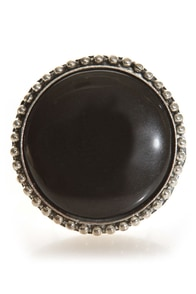 Roundoff Black Cocktail Ring