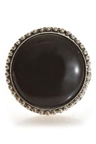 Roundoff Black Cocktail Ring