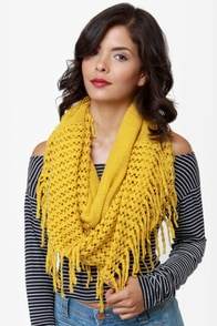 Rock Thready Mustard Fringe Infinity Scarf at Lulus.com!