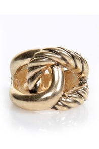 Knot of This World Gold Stretch Ring at Lulus.com!