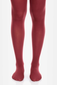 Tabbisocks Time of the Season Wine Red Tights at Lulus.com!