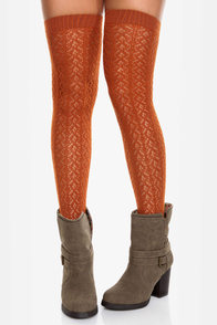 Tabbisocks Kawaii Crocheted Burnt Orange Over the Knee Socks at Lulus.com!