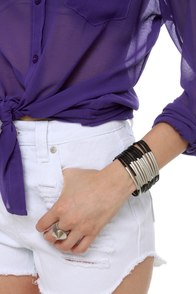 Zad Don't Cage Me In Black Leather Bracelet at Lulus.com!