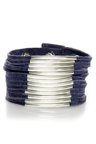Zad Don't Cage Me In Navy Blue Suede Bracelet at Lulus.com!