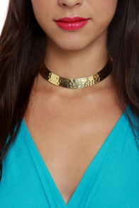 Zad Hammered Gold Collar Necklace