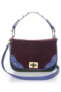 Color Block Handbag Green Handbag Vegan Leather